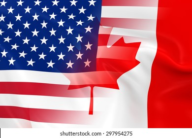 US and Canadian Relations Concept Image - Flags of the United States of America and Canada Fading Together