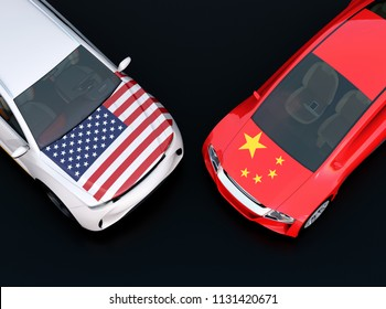 US and China flags on two automobiles hood. black background. . 3D rendering image.