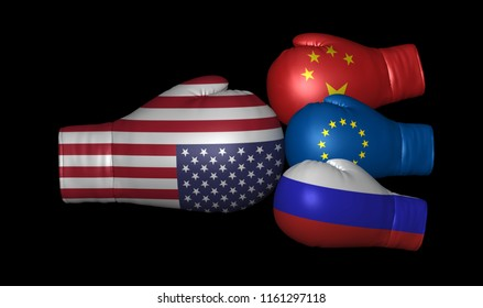 us china russia eu trade war usa tariffs sanctions europe america 3d boxing gloves flags united states european union conflict confrontation crisis global leadership primacy armament isolated on black
