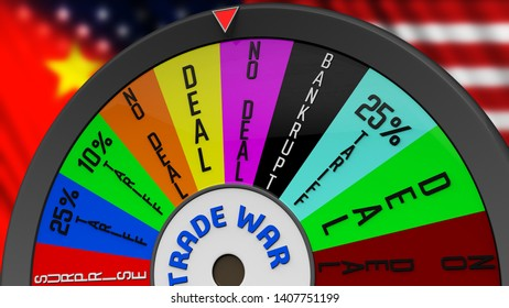 US China Trade War Fortune Wheel 3D Illustration