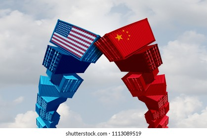 US China trade war and United States or American tariffs as two groups of opposing cargo containers as an economic  taxation dispute over import and exports concept as a 3D illustration.