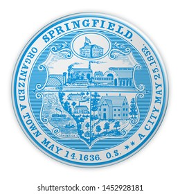 US City Button: Springfield, Massachusetts, Seal Badge, 3d illustration on white background