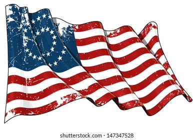 US Civil War Union -37 Star Medalion- Scratched Flag. Illustration of a scratched waving American civil war Union (North) flag against white background