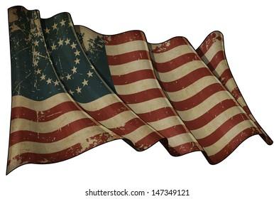 US Civil War Union -37 Star Medallion- Historic flag. Illustration of an aged waving American civil war Union (North) flag against white background