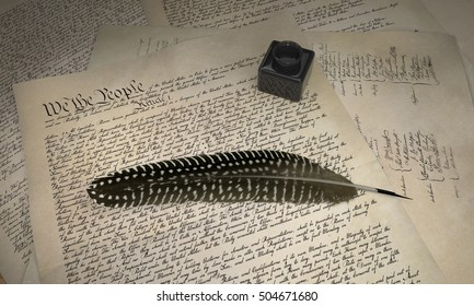 U.S. Constitution and Feather Pen, 3d Illustration