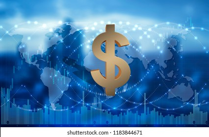 US dollar as a global means of payment, 3D rendering