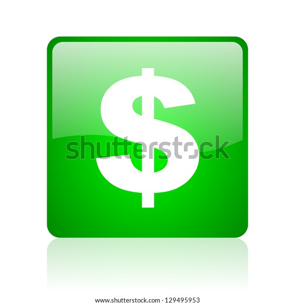 us dollar green square web icon on white background