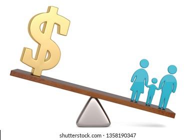 US dollar symbol and family symbol on balance over white background 3D illustration.