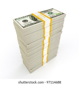 US dollars banknotes money stack on white