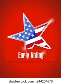 us early voting patriotic illustration design over a red background