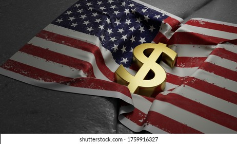 If the U.S. economy were to collapse, it would happen quickly. No one would predict it. The surprise factor is, itself, one of the causes of a collapse 3d rendered illustration