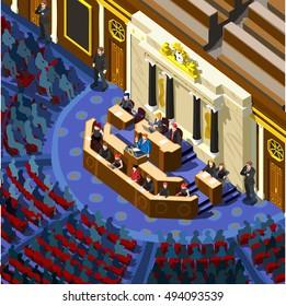 Us Election 2016 infographic Democrat Republican convention hall. Party presidential debate endorsement. Trump GOP opponent rally Flat senate congress tribune pedestal auditorium audience Image