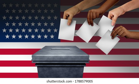 US election and United States vote or American voters voting in the USA for a president or senator and cogress with 3D illustration elements.