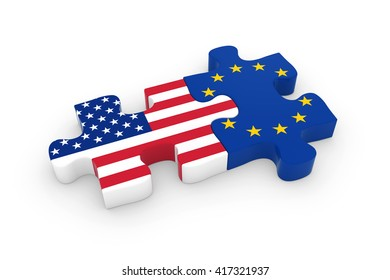 US and EU Puzzle Pieces - American and European Flag Jigsaw 3D Illustration