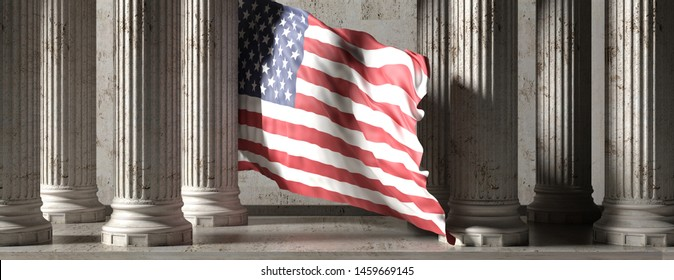 US federal authority or american democracy concept. USA flag, classic marble stone columns building, banner. Pillars colonade. 3d illustration