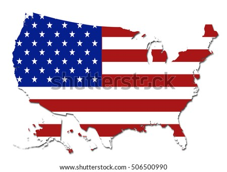 Colored Map Of The Us.Us Flag Colored Map Isolated On Stock Illustration Royalty Free