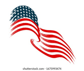 The US flag flies in the wind. Stylized on a white background.  illustration