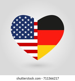 US and Germany flags icon in the heart shape. American and German friendship symbol.