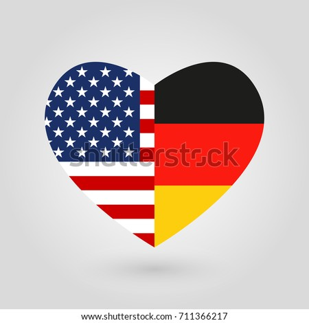 Us Germany Flags Icon Heart Shape Stock Illustration 711366217