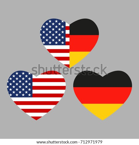 Royalty Free Stock Illustration Of Us Germany Flags Icon Heart Shape