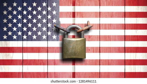 US government shutdown. US flag on wooden door closed with padlock. 3d illustration