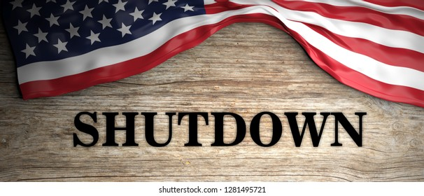 US government shutdown. Shutdown text and US flag on wooden background. 3d illustration