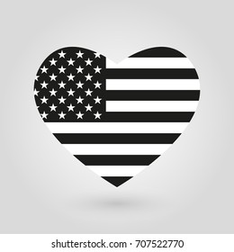 US heart flag icon. American black and white flag. United States of America national symbol.