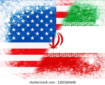 Us Iran Conflict And Sanctions Or Agreement Flags. Trade Deals And Crisis Or Tension - 2d Illustration