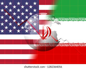 Us Iran Conflict And Sanctions Or Agreement. Trade Deals And Crisis Or Tension - 2d Illustration