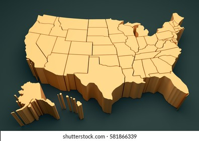 U.S. Map - 3D Illustration