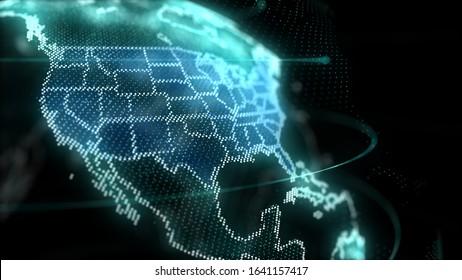 US Map Hologram Effect, United States, America, Digital global map