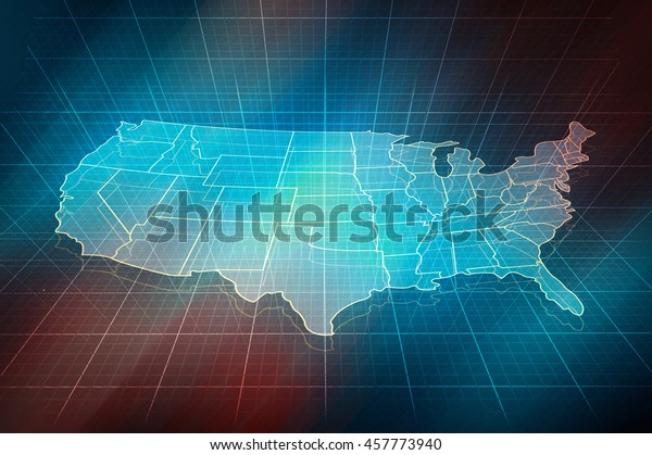 US map. Outline map with border of states. Digital design, 3d map of US.
