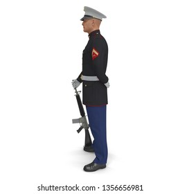 US Marine Corps Soldier in Parade Uniform with M16 Isolated on White Background 3D Illustration