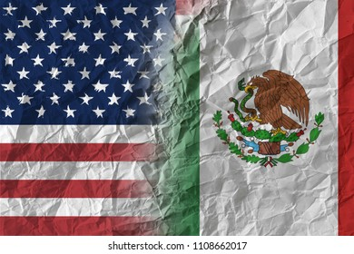 US and Mexico on crumpled paper, policy and relations concept