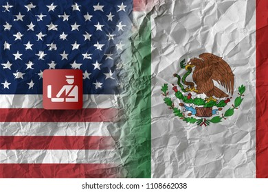 US and Mexico, trade war and border control concept