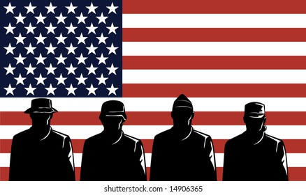 US Military servicemen and flag