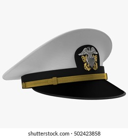 US navy officer's cap isolated on a white. 3D illustration