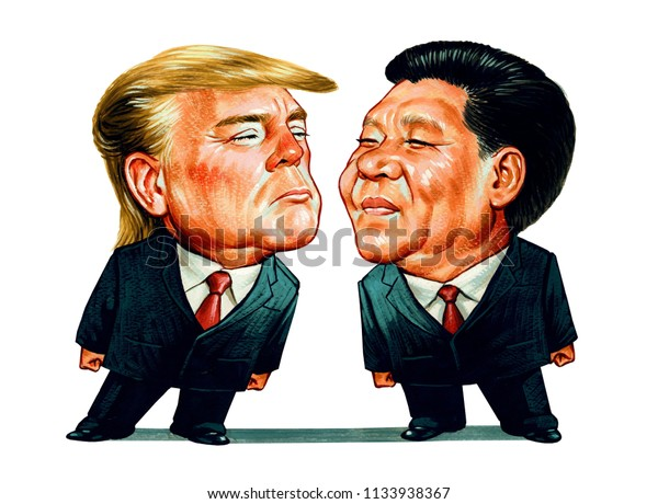 US President Donald Trump and Chinese President Xi Jinping. Illustration,Caricature,Design,July,14,2018