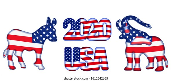 US presidential election until 2020.  Elephant, donkey and inscription in flag color.  illustration