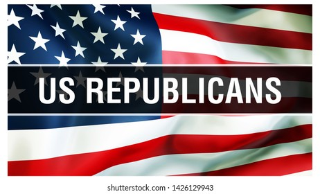 US Republicans election on a USA background, 3D rendering. United States of America flag waving in the wind. Voting, Freedom Democracy, US Republicans concept. US Presidential election banner