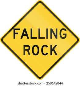 US road warning sign: Falling rock