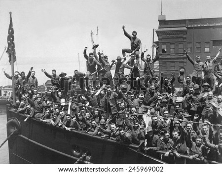 Us Soldiers Wave Troop Ship Embarked Stock Illustration 245969002