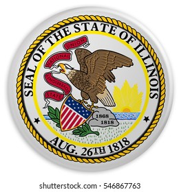 US State Button: Illinois Flag Badge, 3d illustration on white background