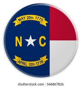 US State Button: North Carolina Flag Badge, 3d illustration on white background