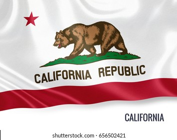 U.S. state California flag waving on an isolated white background. State name included below the artwork.