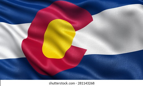 US state flag of Colorado with great detail waving in the wind.