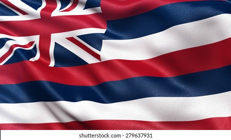 US state flag of Hawaii with great detail waving in the wind.