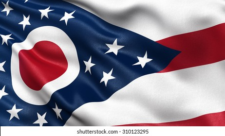 US state flag of Ohio with great detail waving in the wind.