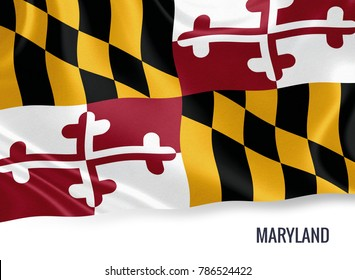 U.S. state Maryland flag waving on an isolated white background. State name included below the artwork.