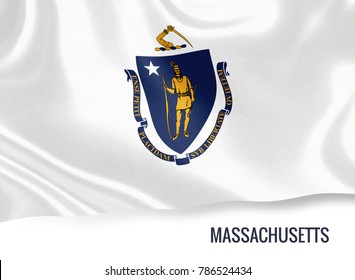 U.S. state Massachusetts flag waving on an isolated white background. State name included below the artwork.